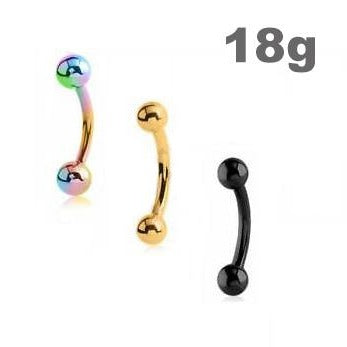 18G Titanium Ball Curved Barbell
