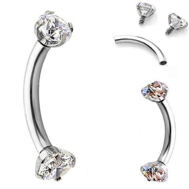 Internally Threaded Prong Set Double Gem Eyebrow Ring
