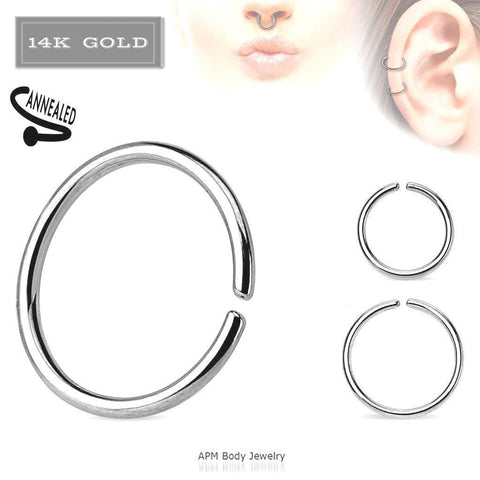 14K White Gold Nose Clip On Hoop