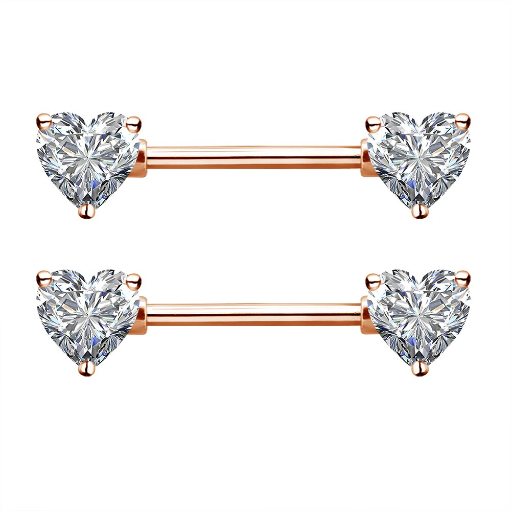 Rose Gold Prong Set Heart CZ Nipple Barbell