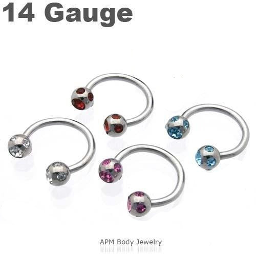 Multi CZ Steel Horseshoe 14g