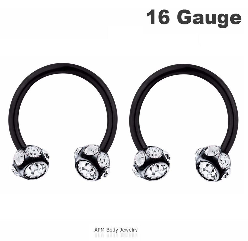 16G Multi CZ Black Titanium Horseshoe