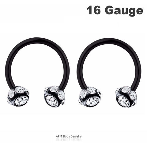 Multi CZ Black Titanium Horseshoe 16g