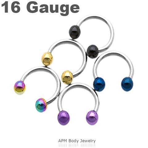 Titanium Top Ball Horseshoe 16g