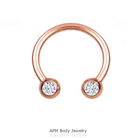 Rose Gold Front Facing Double Gem Horseshoe 14G