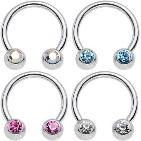 14G 16G Front Facing Double Gem Horseshoe