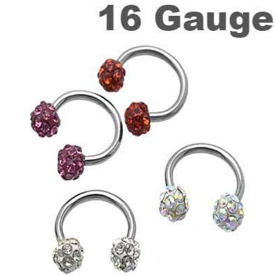16G Multi Crystal Ferido Horseshoe