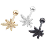 Titanium Marijuana Pot Leaf Logo Tongue Ring