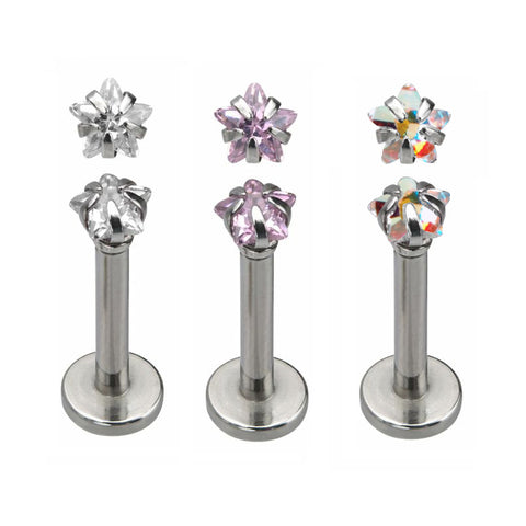 Internally Threaded 2 mm Star CZ Prong Set Labret Tragus