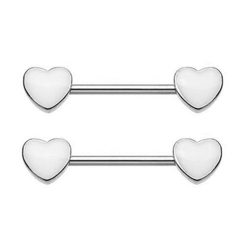 Steel Double Heart Nipple Barbell