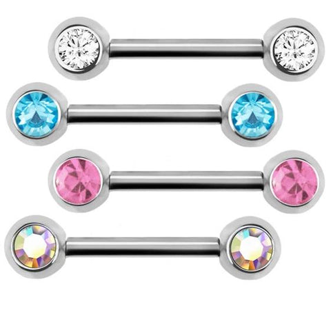 Double Gem Nipple Barbell