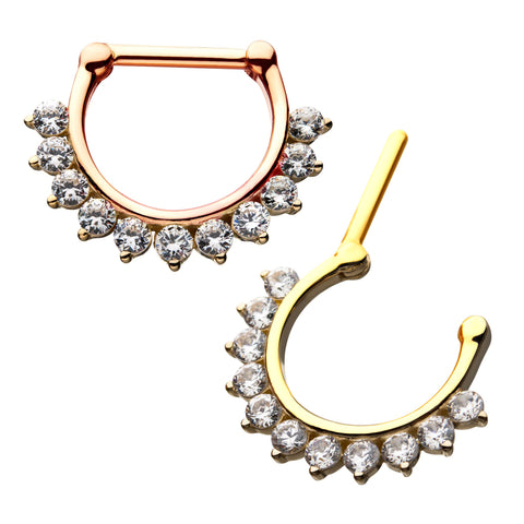Rose & Gold 11 Pronged CZ Septum Clicker