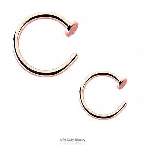 Rose Gold Titanium Nose Hoop Ring 18g 20g