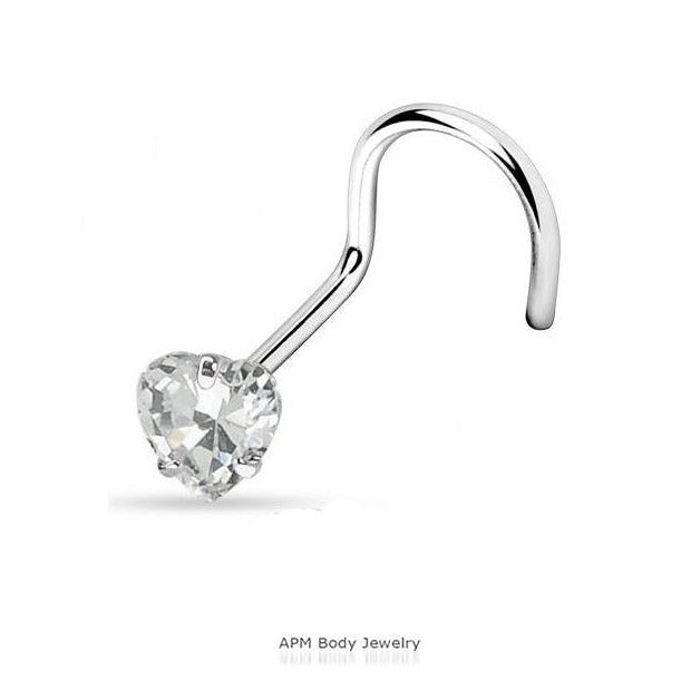 Prong Set Heart CZ Steel Nose Screw