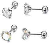 Steel 4-Prong Set CZ Helix Tragus Barbell