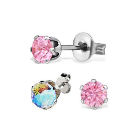 Pair of 3mm AB Pink CZ Steel Stud Earrings