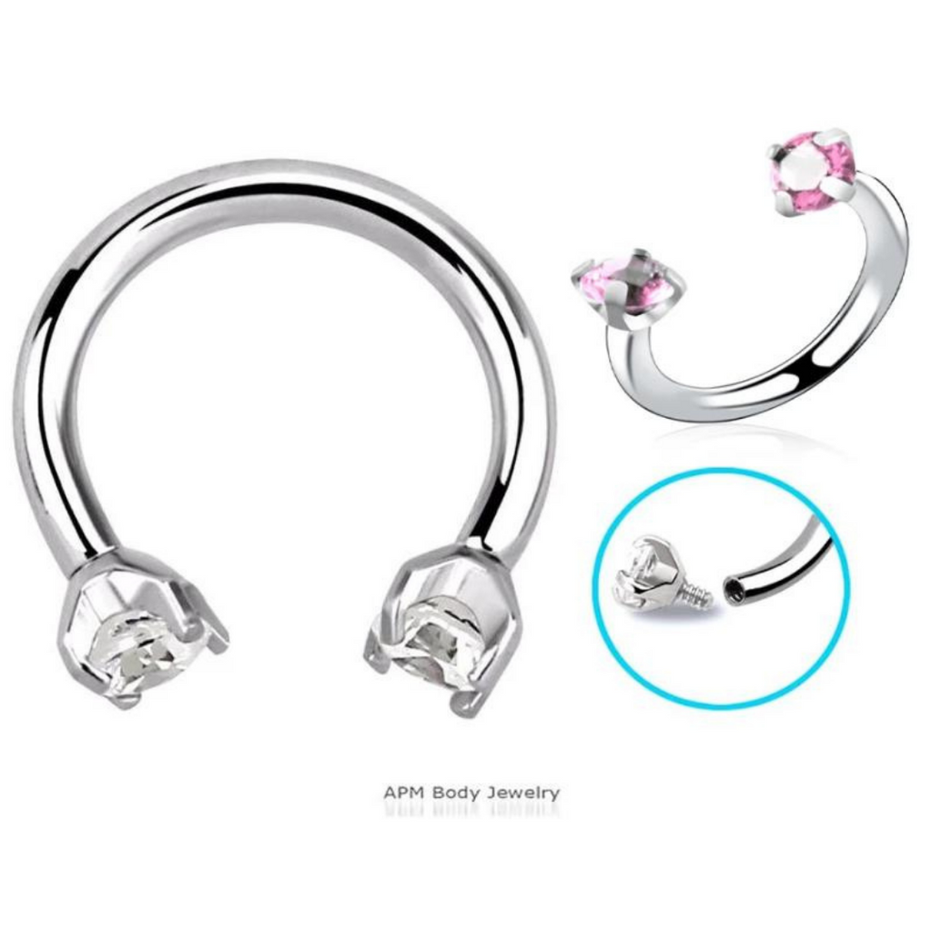 16G Prong Set Internally Threaded Double Gem Horseshoe