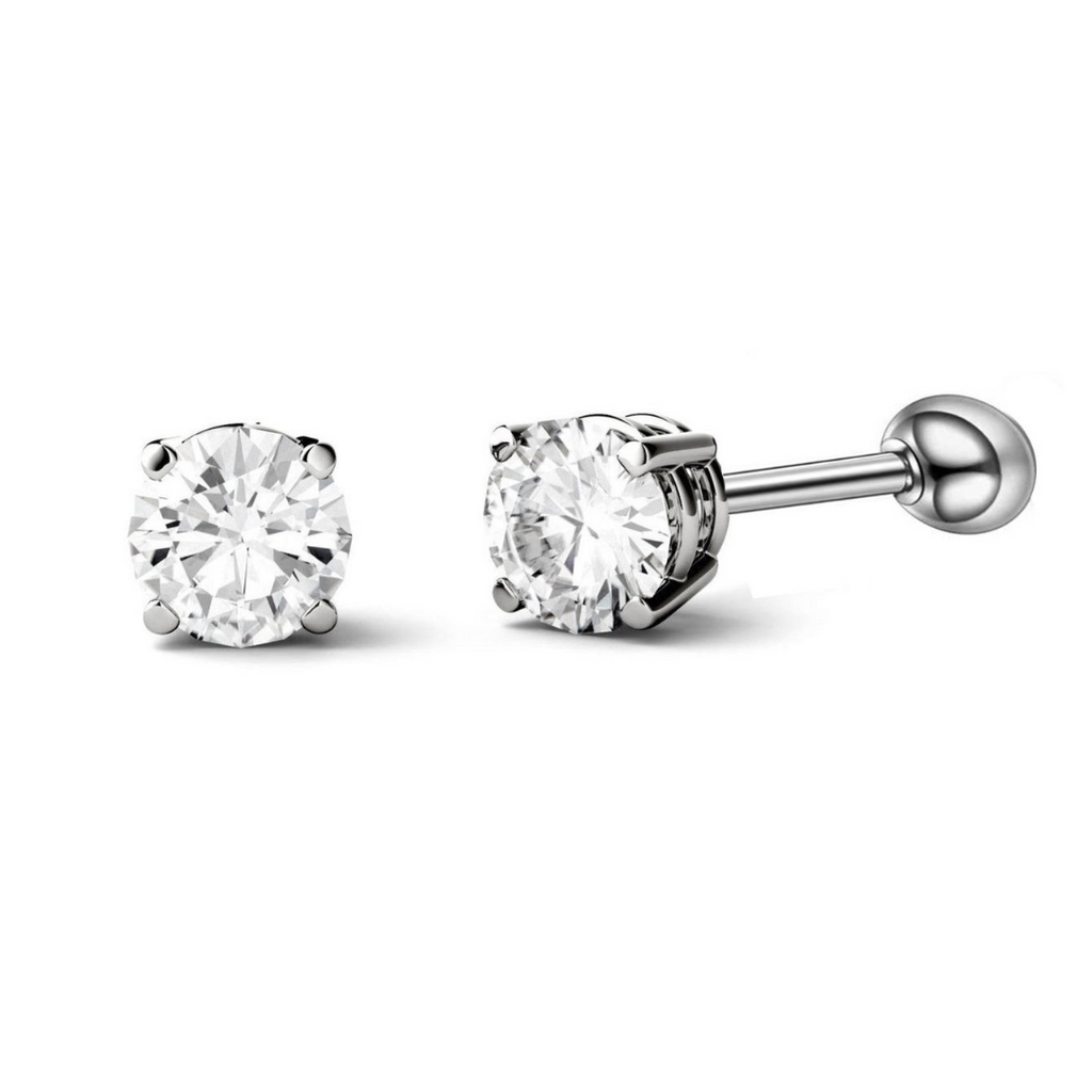 Prong Set 3mm Round CZ Helix Tragus Barbell