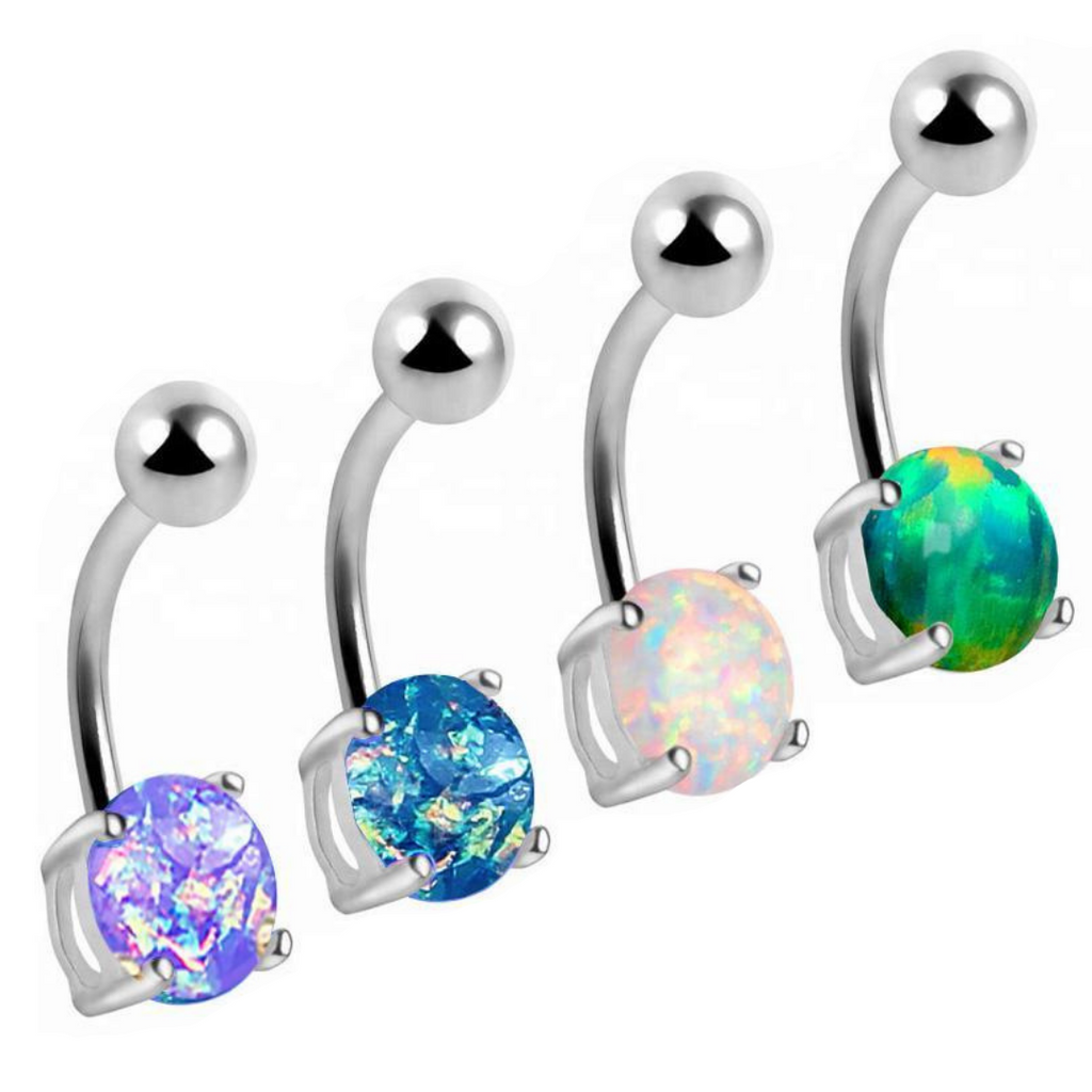 Opal Steel Prong Set Belly Ring