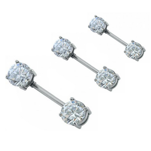 Prong Set Front Double CZ Nipple Barbell