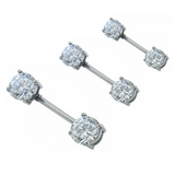 Threadless Push In Prong Set CZ Front Facing Barbell