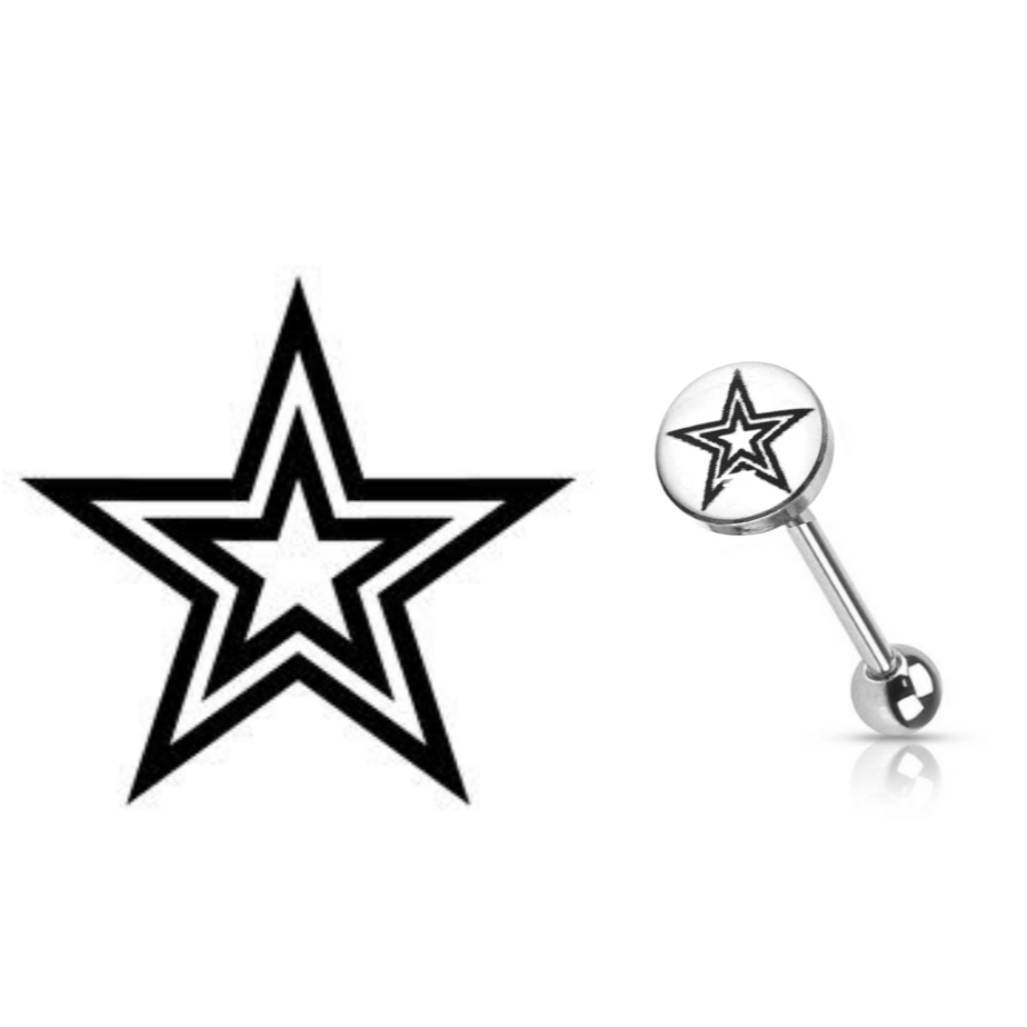 Tattoo Double Star Logo Tongue Barbell