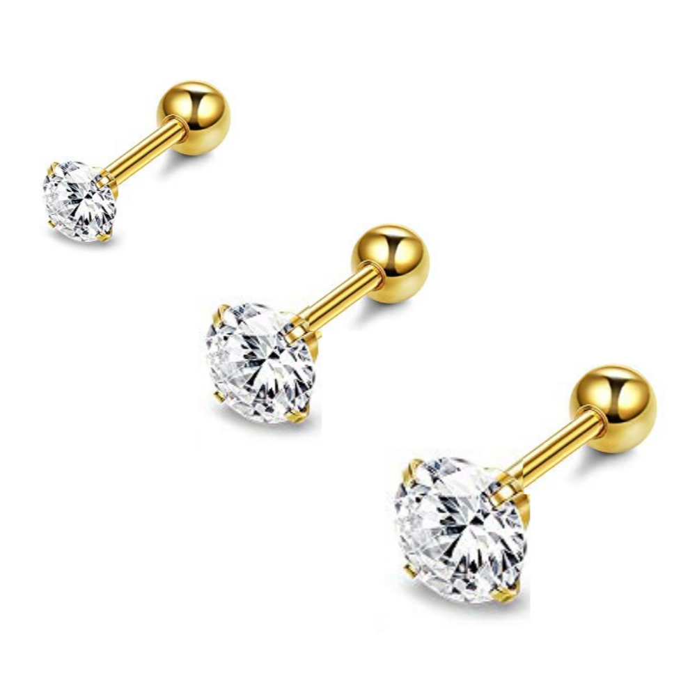 Gold Prong Set CZ Tragus Barbell