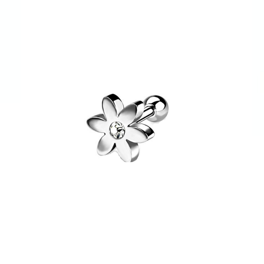 Steel Flower CZ Tragus Barbell