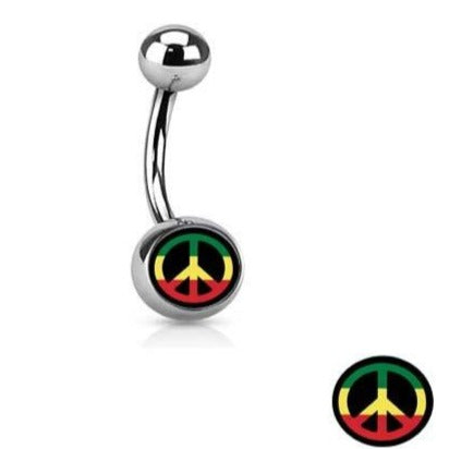 Rasta Peace Sign Logo Belly Ring