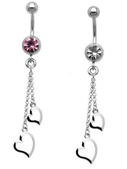 Chain Two Hearts CZ Dangle Belly Ring