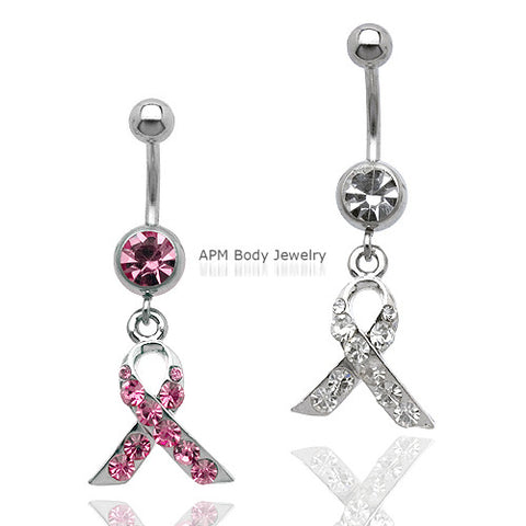 Pink Ribbon Awareness CZ Dangle Belly Ring