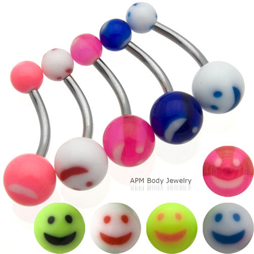 Smiley Face Belly Rings