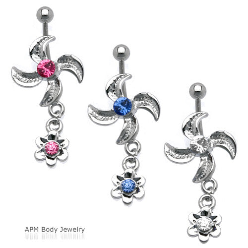 Twin Flower Dangle Belly Ring