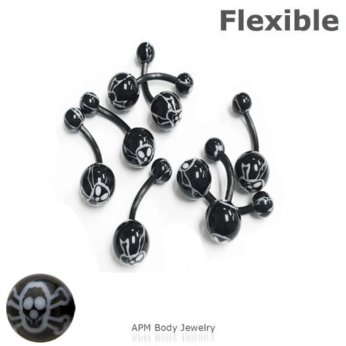 Flexible Black Skull Belly Ring