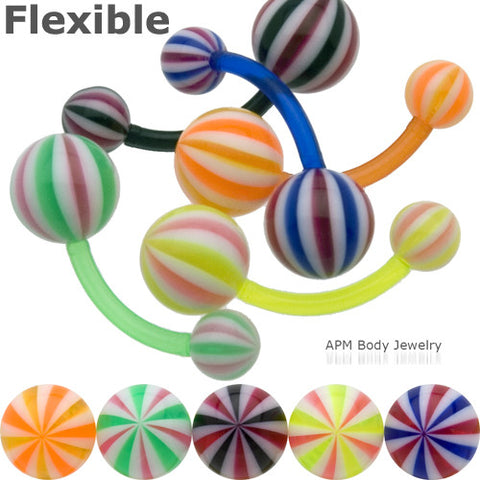 Flexible Candy Stripe Beach Ball Belly Ring