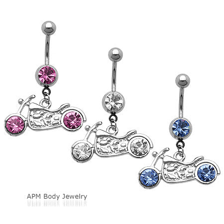 Bling Rim Motorcycle CZ Dangle Belly Ring
