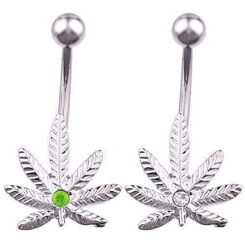 CZ Pot Leaf Belly Ring