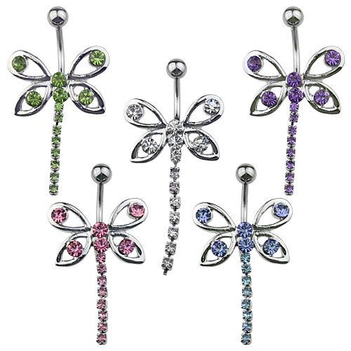 Butterfly Drop CZ Dangle Belly Ring