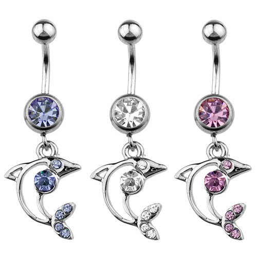 Hollow Dolphin CZ Dangle Belly Ring