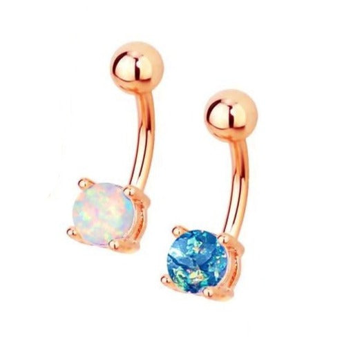 Prong Set 6mm Opal Rose Gold Belly Ring