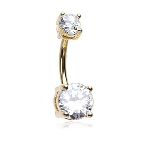Prong Set Gold Double CZ Belly Ring