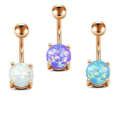Rose Gold 8mm Opal Prong Set Belly Ring
