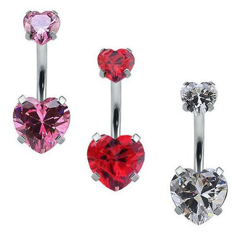 Internally Threaded Prong Set Double Heart CZ Belly Ring