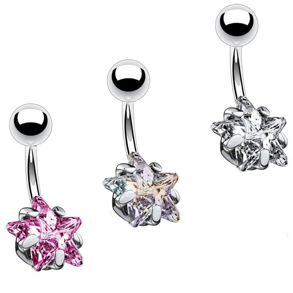 Prong Set Star CZ Belly Ring