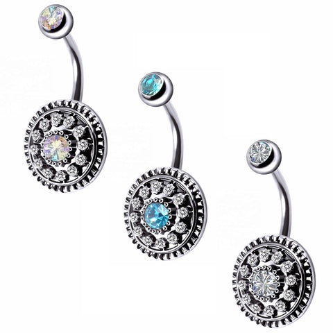 Multi CZ Paved Vintage Shield Belly Ring