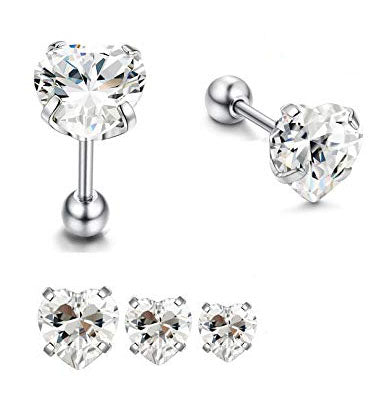Prong Set CZ Heart Helix Tragus Barbell