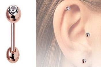 Rose Gold CZ Tragus Barbell