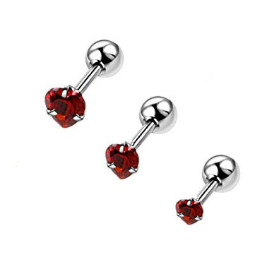 Prong Set Red Heart Helix Tragus Barbell