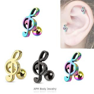 Titanium Music Note Tragus Barbell