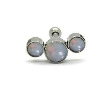 Steel Triple Opal Tragus Barbell
